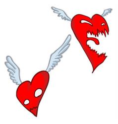 angry heart cartoon vector image