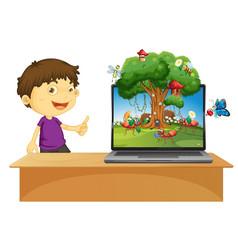 Animal kingdom on laptop screen vector