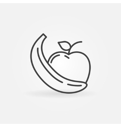 Apple and banana icon vector