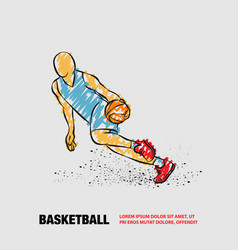 basketball player dribbling with a ball vector image