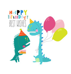 birthday card with cute dinosaurs celebrating vector image