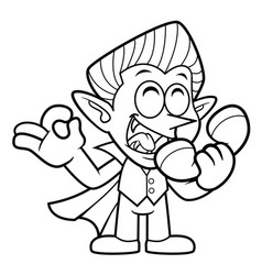 Black and white dracula mascot is a phone and an vector