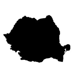 Black silhouette country borders map of romania vector