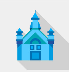 blue castle icon flat style vector image