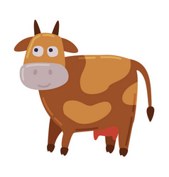 Brown spotted cow dairy cattle animal husbandry vector