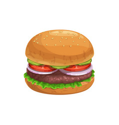 burger fast food sandwich hamburger menu icon vector image