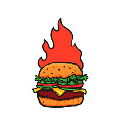 burger hand drawn with fire flame vector image