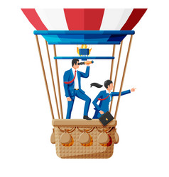 Business people on air balloon team work vector