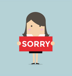 Businesswoman hands holding sorry sign vector