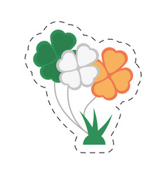 Cartoon bunch clover flag irish st patricks day vector