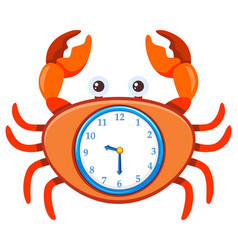 Cartoon crab on clock template vector