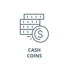 cashcoins line icon cashcoins outline vector image