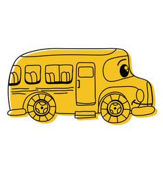 Color kawaii happy school bus transport vector