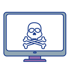 computer display with skull virus alert vector image