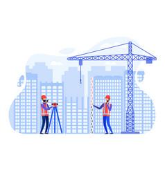 Concept surveyors at construction site vector