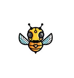 creative bee robot symbol logo vector image