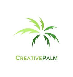 creative green palm logo design vector image