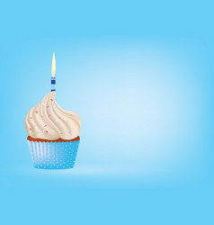 Cupcake with candle on blue background vector