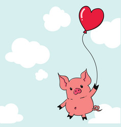 cute cartoon pig hanging with heart shape balloon vector image