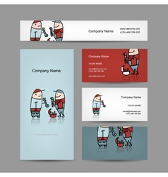 Design of business cards with workers people vector