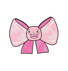 doodle kawaii happy ribbon bow accessory vector image