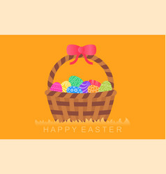 Easter eggs in basket with bow vector
