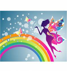 fairy rainbow graphic vector image