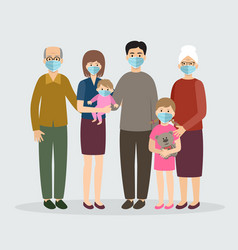 family wearing protective medical mask mom dad vector image