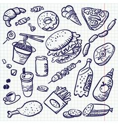 fast food doodle set vector image