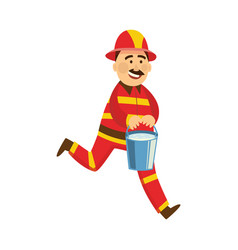 fireman in protection uniform water bucket vector image