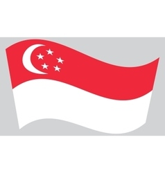 Flag of Singapore waving on gray background vector