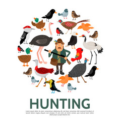Flat hunting colorful round composition vector