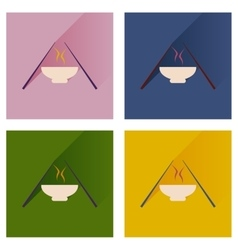 Flat icon collection with shadow miso soup sticks vector