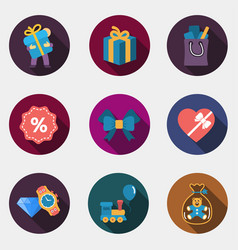 gift flat shop icons vector image