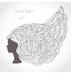 Girl face silhouette beautiful intricate long vector