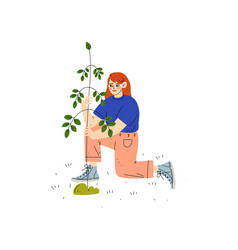 Girl planting tree boy working in garden or farm vector