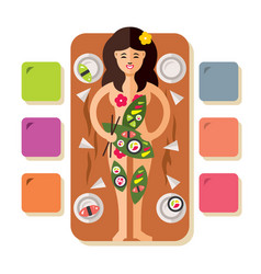 Girl with japanese sushi rolls flat style vector