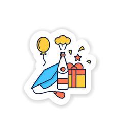 Graduation party sticker icon vector