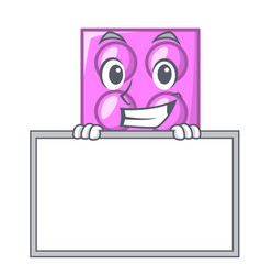 grinning with board toy brick character cartoon vector image