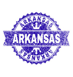 grunge textured arkansas stamp seal with ribbon vector image