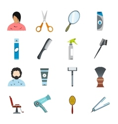 Hairdressing flat icons set vector