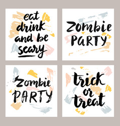 halloween cards with hand written lettering set vector image