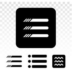 Hamburger menu button flat icon on a transparent vector