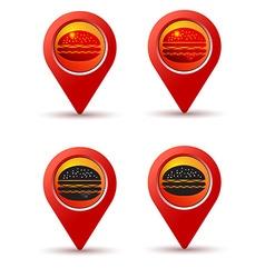 hamburger pin on map line icons vector image
