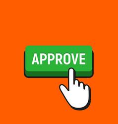 Hand mouse cursor clicks approve button vector