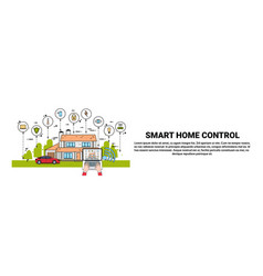 hands use laptop with smart home control vector image