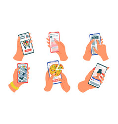hands with phones cartoon mobile devices with vector image