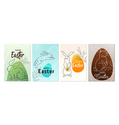 happy easter greeting poster set background line vector image