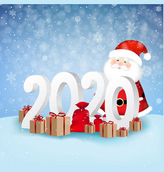 happy new year card with santa claus vector image