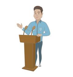 Hispanic politician giving a speech from tribune vector